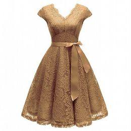 $enCountryForm.capitalKeyWord Australia - Aovica V-Neck Lace Knee-Length Women Dresses With Short Sleeves Dress For Women Female Vestidos New Arrival Chic Cheapest Price