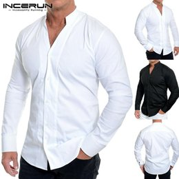 Wholesale men s v neck dress shirt for sale – oversize INCERUN Solid Color Men Dress Shirt Brand Long Sleeve Button Slim V Neck Breathable Casual Business Men Shirts Camisa Streetwear1