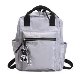 $enCountryForm.capitalKeyWord Canada - Casual Nylon Backpack Women Large Capacity School Bag For Teenager Girls Solid Color Travel Bags Bookbags Students Mochila Bolsa