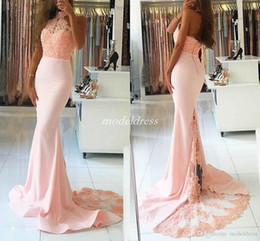 $enCountryForm.capitalKeyWord Australia - Baby Pink Mermaid Prom Dresses Halter Backless Crystal Beads Sweep Train Appliques Long Formal Evening Party Gowns Special Occasion Dress