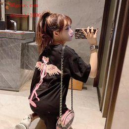 $enCountryForm.capitalKeyWord Australia - 2019 fashion women brand t Shirt Medium long pink leopard wings T-Shirt casual Tee shirts femme High quality summer women clothes BC-17