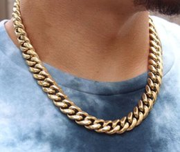 diamond cuban link chain Australia - 14k Gold Electro Plated Thick Heavy Men's Gold Cuban Link Chain Necklace