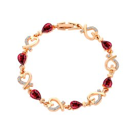 $enCountryForm.capitalKeyWord Australia - Rose Flower Bracelet For Women Wedding Delicate Floral Charms Bracelets Bridesmaid Bridal Gift Love Crystals Bracelets
