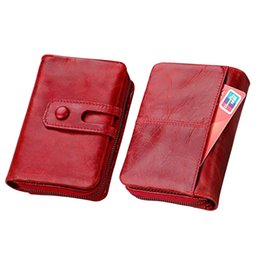 block wallet UK - Men wallet Genuine Leather Women Wallets short Hasp Zipper Wallet Ladies Clutch Bag Purse 2019 RFID Blocking Coin Purses WRF4