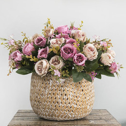 bouquets peonies Australia - High Quality Silk Faux Peony Artificial Flower Bouquet Wedding Decoration Beautiful Pink Mini Rose Fake Flowers Decor for Home
