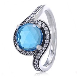 Blue wedding rings women online shopping - New Sterling Silver Ring Radiant Embellishment With Sky Blue Crystal Ring For Women Wedding Party Gift Fine Europe Jewelry