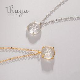 Dainty Pendants Australia - Thaya Snow Flower Carved Pendant Necklace S925 Silver Edelweiss Crystal Elegant Friendship Charm For Women Simple Dainty Jewelry J190613