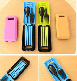Reliable Hot Picnic Protable Tableware Eco-friendly Abs Spoon Fork Storage Box For Trip Selected Material Complete Sets
