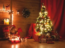 Printed backdroPs for PhotograPhy online shopping - Indoor Night Christmas Tree Decorated Vinyl Photography Backdrops Gift Box and Bear Photo Booth Backgrounds for Merry Christmas Studio Props