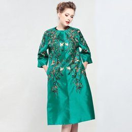 floral trench coat women Australia - New Brand Coat Women Plus Size XXL Trench Vintage National Style Embroidery Covered Button Red Green Dark Blue Overcoats Femme Y190919