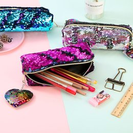 Stationery Australia - 50pcs heart shape Reversible Sequin Pencil Case for Girls School Supplies Super Big School Bts Stationery Gift Magic Pencil Box