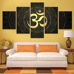 symbol decor 2019 - Modern Canvas Wall Art Home Decor For Living Room HD Prints Poster 5 Piece Buddha OM Yoga Painting Golden Symbol Picture