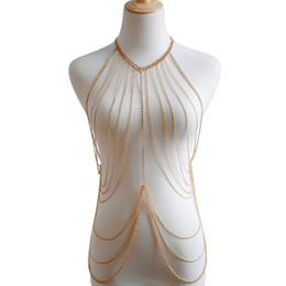 $enCountryForm.capitalKeyWord UK - Sexy Bikini Chainmail Tops Harness Bra Body Chest Chain Silver Gold Body Jewelry Boho Necklace Girls Gift