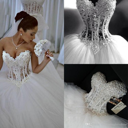 pearl tulle back Australia - Princess Ball Gown Wedding Dresses Pearl Plus Size Country Wedding Dress Puffy Tulle Bling Strapless Boho Bridal Dresses Corset Back 2020