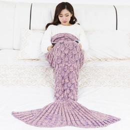 $enCountryForm.capitalKeyWord NZ - Mermaid Blanket Handmade Knitted Sleeping Wrap TV Throw Sofa Mermaid Tail Blanket Kids Adult Baby Crocheted Bag Bedding