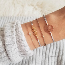 $enCountryForm.capitalKeyWord Australia - 4 Pcs set Women Fashion Gold Leaves Flowers Polka Crystal Chain Braid Bracelet Set Bohemian Party Jewelry Gift Accessories