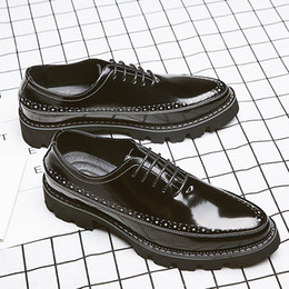 leather low cut dress 2019 - new arival Enaland style Brogue palodge leather shoes for men balck color dress shoes for youth size 38-44 cheap leather