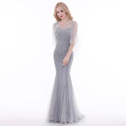 $enCountryForm.capitalKeyWord NZ - Finove Luxury Grey Evening Dresses 2019 Illusion Half Sleeve Backless Mermaid Floor Length Party Gowns Formal Dresses for Woman