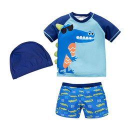 Swimwear Infant Australia - Boy Swimwear Swimsuit Kids Toddler Baby Cute Animal Swimsuit Two Piece Short Sleeve Infant Boy Beachwear Bathing Suit Bodysuit
