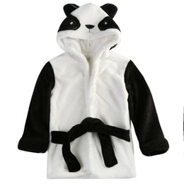 animals pajamas infant Canada - Infant Baby Bath Towel Animal Bathrobe Coral Fleece Blanket Hooded Wrap Panda