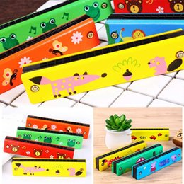 Musical Instruments Australia - 16 Hole Wooden Harmonica Kids Cartoon Pattern Toy Musical Instrument Fashion New 16 Hole Harmonica