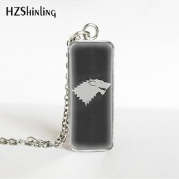 silver house pendant Australia - HZSHINLING New Arrival Game of Thones House Stark Family Icon Rectangle Necklace Fashion Glass Cabochon Pendant Jewelry