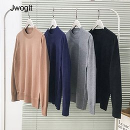 korean clothes sweater knits Australia - Sweaters Men Round Collar Solid Colors Soft Warm All-Match Daily Knitting Korean Style Clothing Mens Simple Pull Sweater