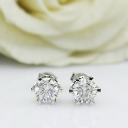 $enCountryForm.capitalKeyWord Australia - Genuine14k 585 White Gold Push Back 1carat Ctw Test Positive Lab Grown Moissanite Diamond Earrings For Women Y19052401