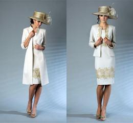 $enCountryForm.capitalKeyWord Australia - Knee Length Mother Of The Bride Dresses Gold Appliques Elegant Pant Suits New Arrival 2018 Vestidos De Novia Free Shipping