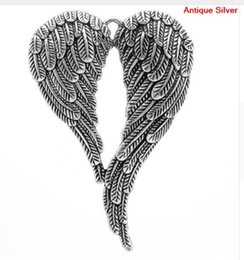 Discount angel wings beads metal free ship 10Pcs lot Vintage Silver Angel Wings Charm Metal Big Angel Wings Charms Pendant For Jewelry Making 47*69mm