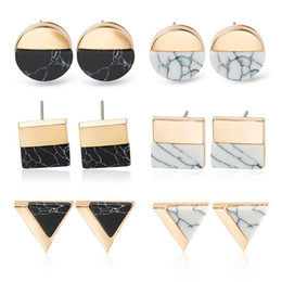 Marble earrings online shopping - Geometric Earring Round Square Triangle White Kpop Marble Stone Earrings Beautifully luxury Jewelry Simple Round Natural Stone Earrings