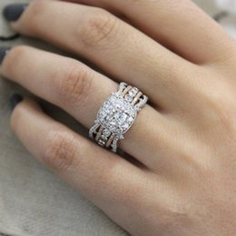 Gold Wedding Ring Finger For Women Australia - New Fashion Two-Tone Color White Gold 14K Gold Color Zircon Wedding Rings For Women Rhinestone Finger Ring