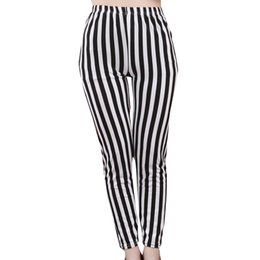01d6a8f95684d 2019 Black and White Vertical Striped Printed Women Leggings Fashion Casual  Elasticity Ankle-Length Pant Female Fitnes Legging