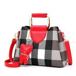 Brown Bear Backpack Australia - Summer Bear Backpack Fashion Women Bag Leather Lattice Handbags PU Shoulder Bag Vintage Shoulder for Women Messenger Bags