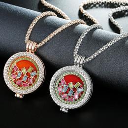 Rose Gold Filled Pendant Australia - Essential Oil Diffuser Locket Pendant Aromatherapy Perfume Necklace Women Diamond Open Rhinestone Rose Gold Sliver Sweater Chain Necklaces