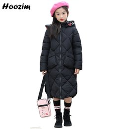 Floral Longer Hooded Winter Parka Australia - Winter Long Jacket For Girls 8 9 10 11 12 13 Years Cool Parka Children European Kids Outerwear Embroidery Floral Coat For Girls