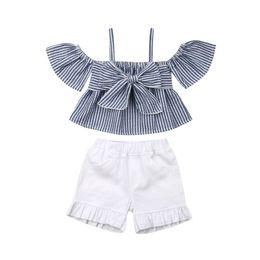 d4f94872e51bd Toddler Kids Baby Girl Off Shoulder Striped Crop Top Bowknot Blouse Shirt +  Ruffle Shorts Pant Summer Outfit 2PCS
