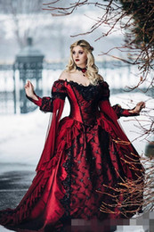 $enCountryForm.capitalKeyWord Australia - Gothic Burgundy Wedding Dresses Long Juliet Sleeves Black Lace Applique Sequins Ruffles Deep Off Shoulder Wedding Gown Custom Made Plus Size