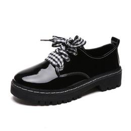 Flat Lace Up Oxfords Women Australia - Classic Brand Shoes Women Casual Round Toe Black Oxford Shoes for Women Flats Comfortable Lace Up Women Shoes Brogue L228