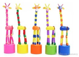 Push Wooden Toys NZ - Cute Baby Wooden Rock Giraffe Push Up toys Standing Dancing Hand Doll wooden finger toys for baby