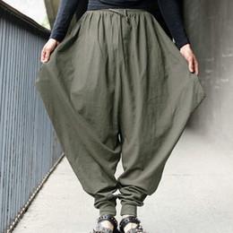 $enCountryForm.capitalKeyWord NZ - Pants Summer Men Casual Harem Loose Pants Low Drop Crotch Wide-Leg Long Trousers Male Japanese Samurai Style Cropped Linen