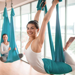 aerial yoga 2019 - New High Quality Aerial Yoga Hamm Indoor Silk Anti-Gravity Yoga Beginner Practice Air Door Sling And Extension Belt Set#