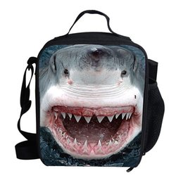 $enCountryForm.capitalKeyWord Australia - Cool Shark Print Lunch Bag Thermal Cooler For Kids Boys Girls Children Picnic Bag Ice Pack Insulation