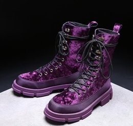 Purple Martin Boots Australia - Fashion Woman Platform Golden Velvet Martin Boots Ankle Boots Round Toes Flat Heel Lace-Up Knight Motorcycle Boots size 35 ~ 40