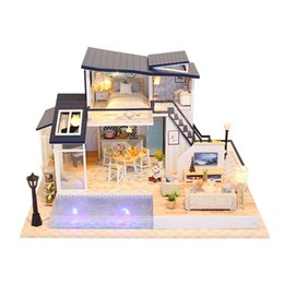 Doll Houses Toys & Hobbies Diy Wooden Doll House Puzzle 3d Dollhouse With Miniature Furniture Dust Cover Toys For Kids Children Birthday Gift H12 With A Long Standing Reputation