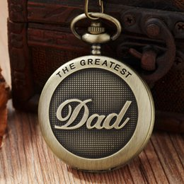 Vintage bronze fob watch online shopping - The Greatest Dad Bronze Quartz Pocket Watch Necklace Pendant with Chain Vintage Fob Watches Men Women Gifts relogio de bolso