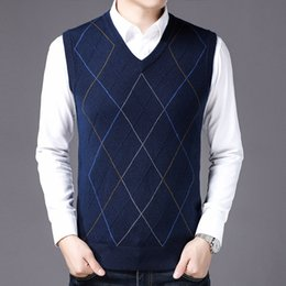 Middle age sweater online shopping - MRMT Brand New Autumn Winters Men s Knitted Sweater Vests V neck Middle aged Sweater Vest for Male Tops Knitted Vest
