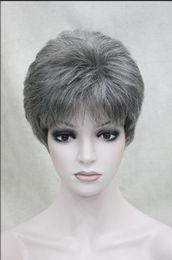 WIG Brand wigs - Castanho Escuro w / 50% Cinza Curto Feminino Mulher Peruca Hivision venda por atacado