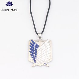 wholesale resin wings NZ - Metal anime attack free titanium necklace attack giant cosplay shell necklace survey wings Jewelry gift
