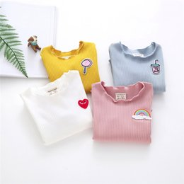 $enCountryForm.capitalKeyWord UK - Toddler Kid Long Sleeve T-shirts Infant Baby Girls Solid Tops Cute Cartoon Applique Ruffled Tees Autumn Winter Clothes 6M-3T A20
